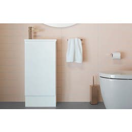 ADP Piccolo Vanity with kickboard in gloss white polyurethane cabinet finish.