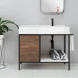 ADP Antonio Floor Mount Vanity 1000mm Right Hand Side Offset Bowl in Aged Walnut Chalk Textured Cabinet Finish.