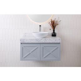 Charleston Wall Hung Vanity in Matte Milton Grey polyuretane cabinet finish, Avalanche Cherry Pie benchtop