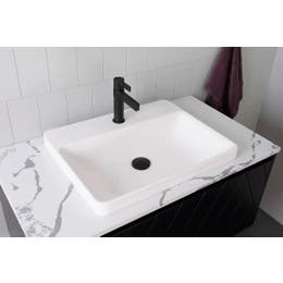ADP Courage Solid Surface Semi Inset Basin White.