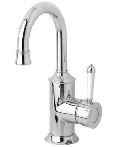 Phoenix Nostalgia Basin Mixer 120mm Gooseneck (Chrome & White Handle)