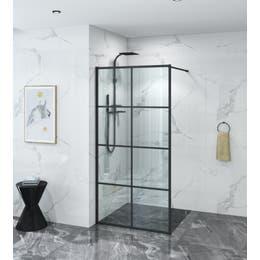 Covey Mullion Framed Single Panel Shower Screen - Matte Black