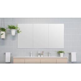 Silk Mirrored Cabiner - 1500 x 800mm, 3 door, recessed into wall.